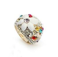 Free shipping ITALINA accessories romantic white flower index finger ring vintage Imitation diamond ring Women