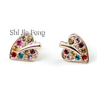 Free shipping ITALINA jewelry Austrian crystal earrings leaves shaped ear nail personality color earrings