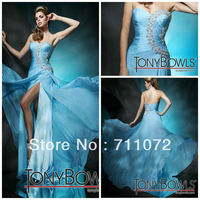 Dream Beautiful Sheath Split Sweetheart Off Shoulder Chiffon Pleats Beaded Light Blue Sexy Formal Evening Dress 2013