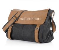 BAZ15 Vintage Khaki black Washed Canvas Shoulder bag messenger mailbag school book bag for women girl boy men