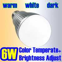 Color Temperate + Brightness Adjust  2.4G Group Division AC85-265V 6W LED residential lighting bulb