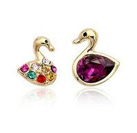 Free shipping Italina jewelry cygnet earrings irregular crystal stud earrings