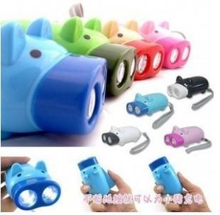 DHL/fedex free shipping Hand Pressing Power 2 LED Pig Flash Light Flashlight Wind-up Dynamo Torch Lamp(China (Mainland))