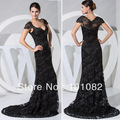 Custom-made Elegant Cap Sleeves Black Lace Beadings Formal Evening Dress Mother of the bride Dresses WD1-023