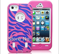 Zebra pattern custom designs shockproof protective defender case for iphone 5 5g MIXed COLOR