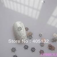 MS-173-1 Free Shipping Metal Silver Snowflake Nail Art Metal Sticker Nail Art Decoration Fancy Outlooking