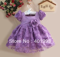2013 NEW Fashion Children Girls Flower Dress Purple Children Princess Party Dress Kids Clothing 1-4T