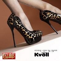 Kvoll single shoes sexy leopard print banquet platform thin heels ultra high heels female shoes