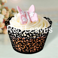 MOQ: 192pcs 2 Designs12pcs/pack Laser cutting Lacework Cupcake Wrapper(black and white)