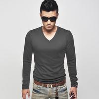 Autumn men's clothing t-shirt male long-sleeve slim v-neck T-shirt 100% cotton men's all-match casual t-shirt clothes