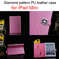 New Arrival! Fashionable Diamond pattern pu leather stand cover/case for iPad mini with credit card slots, free shipping