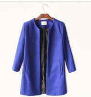 Fashion ol luxury brief woolen overcoat navy blue black three quarter sleeve medium-long o-neck wool coat outerwear