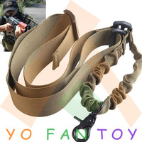 Free Shipping Tactical Elastic Single Point Nylon Bungee Snap Hook CQB Rifle Gun Sling - Sand