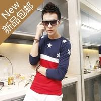 Free Shipping New Korea Men's Casual Slim Fitting Dress Shirts long sleeve cotton T-shirt  star printing