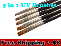 5 in 1 Black Nail Art Brush Set for UV Gel Nail brush Free shipping #0059