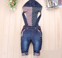 5pcs/lot Spring and autumn smiley children overalls baby denim trousers children&#39;s clothing/jeans girl boy jumpsuits(China (Mainland))
