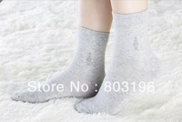 5Pairs/Lot Wholesale Factory Spring Men's Cotton Thin Style Dress Socks Free Size Black/Grey/Dark Grey Free Shipping