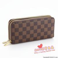 Free shipping double zipper long design wallet card case purse