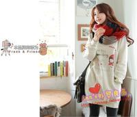 Free shipping Long design o-neck print women's sweatshirt medium-long fleece