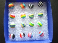 Brincos Stud Earrings Candy Color Stripe Circle Anti-allergic Stud Earring Children Earrings Pack In Jewelry Box Free Shipping