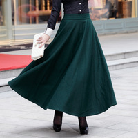 Autumn winter upset wool waist skirt Europe and the United States to restore ancient ways long skirt and ankle