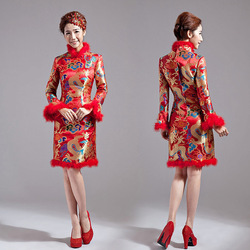 2012 bride wedding formal dress cheongsam married chinese style improved cheongsam short design winter cheongsam wedding dress(China (Mainland))
