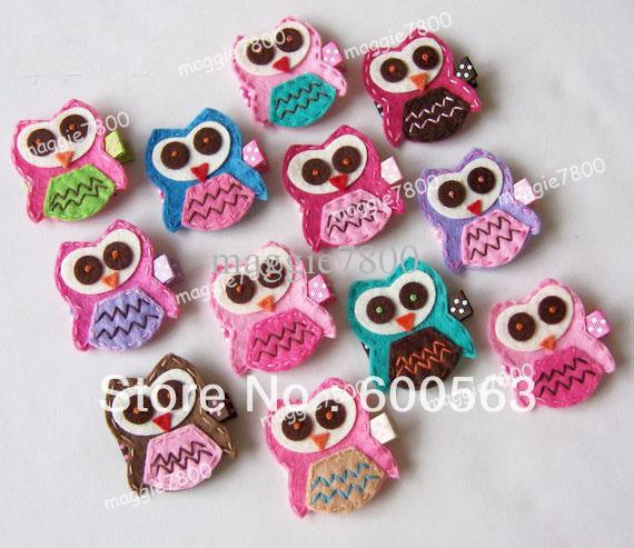 "2"" OWL Girls cartoon Hair Clips baby Hair Bows handmade Simple wool felt clips 120pcs / lot(China (Mainland))"