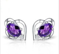 purple 925,sterling sliver romantic earring for promotion