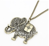 Fashion pierced the elephant necklace / sweater chain