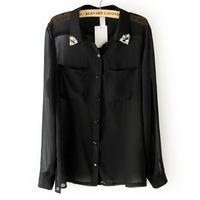 Chiffon Shirt with Rivets on Collar