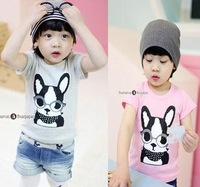 free shipping kids children's clothing cartoon character baby boys t shirt lovely CAT print top