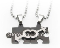 New arrived  men and women the same puzzle symbols matching necklace can be engraved stainless steel pendants