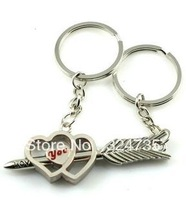 Wholesale Lover Heart and Cupid Arrow Couple Keychain Valentine Key Ring Exquisite Wedding Gifts (min $10 can mix order)