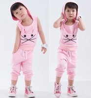 free shipping new 2013 pink pant+sleeveless t-shirt summer set baby girl sets kids sports wear