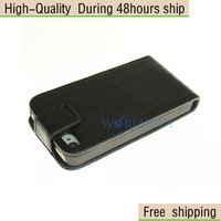 New Deluxe Litchi Flip Genuine Leather Case Cover Skin for Apple iPhone 4 4S 4G Free Shipping DHL CPAM HKPAM GFD-23