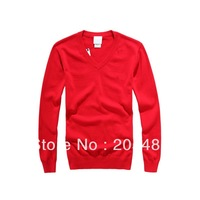 Free shipping men's casual  sweater  100% cotton long sleeve 6 colour 4 size(embroidery brand logo)  M, L, XL,XXL