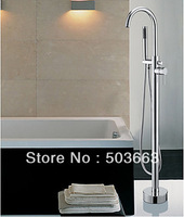 Perfect Bathroom Single Handle Floor Mounted Bathtub Faucet Tap Shower Set Mixer Set A-9005