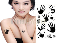 10 Sheets Black Palm Print Temporary Body Art Waterproof Tattoo Sticker 10 pcs/lot 10284