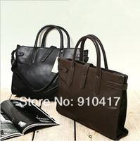 fashionable casual briefcase man shoulder cross-body business laptop handbag/black coffee/free shipping