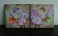Wholesale 120pcs/lot  Customized Decorative Canvas Painting with Led  30*30*1.5cm
