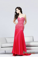 New Style Sheath Bodice Heavy Beading Arabic Evening Dress