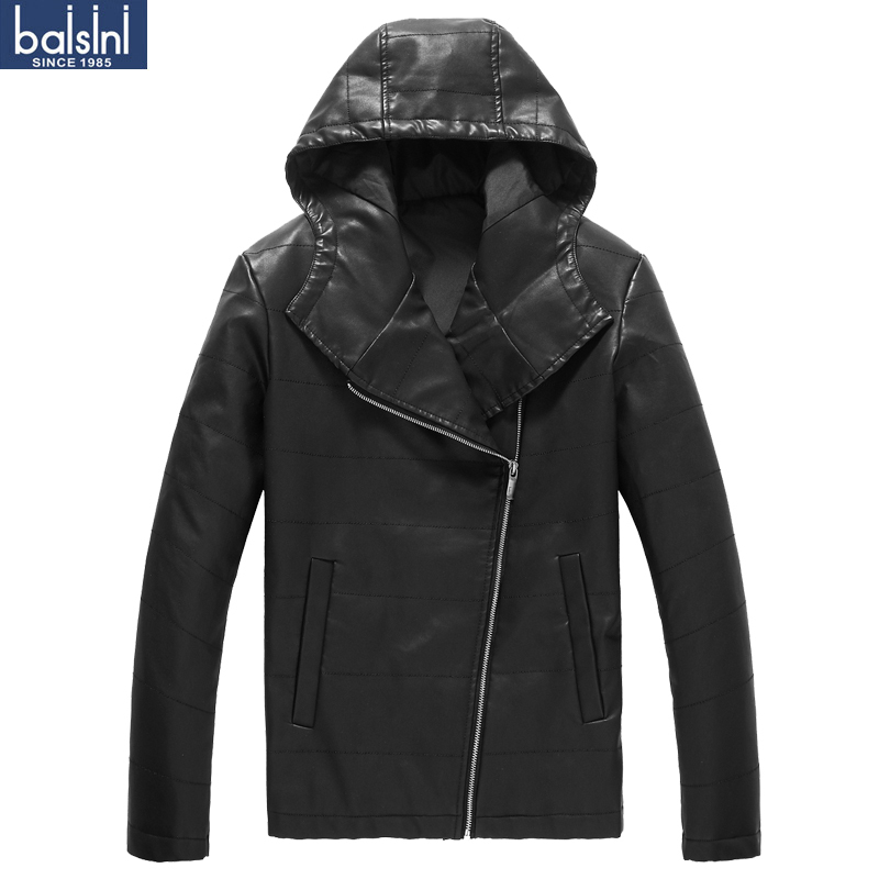 2012 leather clothing hiphop oblique zipper with a hood motorcycle leather clothing outerwear male motorcycle leather clothing(China (Mainland))