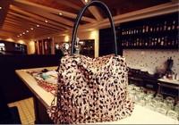 Fashion women Handbag shoulder Bags LEOPARD PRINT HANDBAG for Grain Golden Rivet Bag Vintage Handbags free Shipping Hb0118
