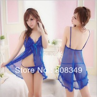 New Women Sexy Lingerie Hot Lace Babydoll Dress+Sexy G-STRING Blue Colors Baby Dolls Free Shipping