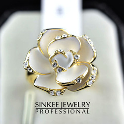 (min order is 10USD) 18k gold plated ring fashion jewelry luxury rose fashion Ring wedding rings NO.JZ185(China (Mainland))