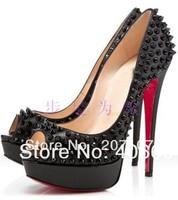 high heel shoes 140 spiked black leather pumps black spikes shoes 2012 new arrival platform rivets pump women dress shoe