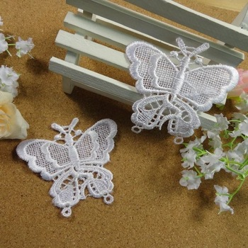 Wholesale butterfly designs Lace Appliques 3 colors For Decorations, Garment accessories,DIY appliques 200pcs/lot