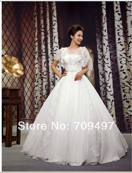 Korean princess lace short-sleeved was thin bridal gorgeous upscale straighten wedding(China (Mainland))