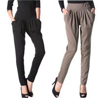 Harem pants female women's plus size pants elastic mid waist skinny pants