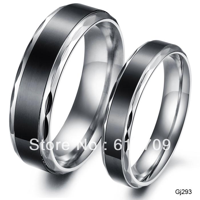 free shipping black simple plain vintage titanium steel